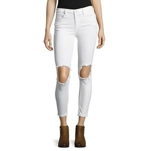 Free People Distressed Skinny Jeans White Size 29